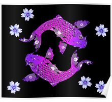 Pink Purple Koi Fish Floral Art Illustration Poster