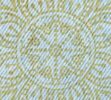 Gold Mandala on Light Blue Jeans Sticker