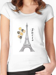 Paris Black and Gold Balloons Women's Fitted Scoop T-Shirt