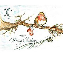 Merry Christmas Robin Photographic Print