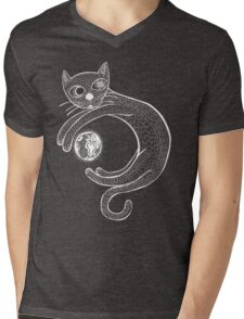 Playful Cat (White) Mens V-Neck T-Shirt