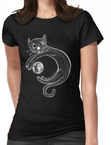 Playful Cat (White) Womens Fitted T-Shirt