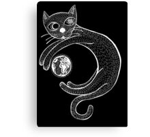 Playful Cat (White) Canvas Print