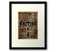 VINTAGE BRITISH SAYINGS Framed Print