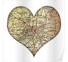 PERSONALISED LOVE HEART MAP Poster