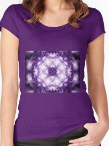 Violet Mandala - Abstract Fractal Artwork Women's Fitted Scoop T-Shirt