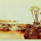 a digital painting of the Roman Pier at Assuan (Aswan) on the Nile River 19th century - throw pillow by Dennis Melling