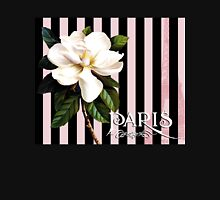 Parisian White Magnolias in stripes, Eiffel Tower France Womens Fitted T-Shirt
