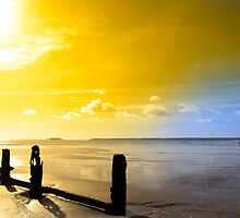 golden sunshine over the Irish coast by morrbyte
