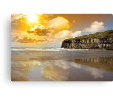 Ballybunion beach and cliffs wth Atlantic sunset Canvas Print