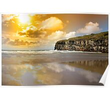Ballybunion beach and cliffs wth Atlantic sunset Poster