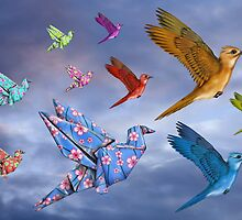 Origami Bird Dreamscape by Paul Fleet