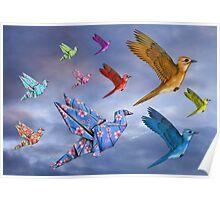 Origami Bird Dreamscape Poster