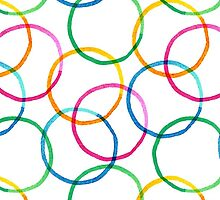 Seamless pattern with colorful watercolor circle elements by IreneArt