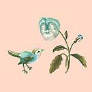 Songbird & Pansy on Peach by ThistleandFox