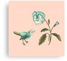Songbird & Pansy on Peach Canvas Print