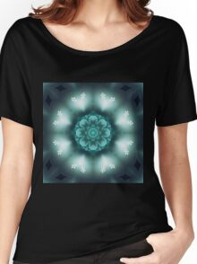 Green Floral Mandala - Abstract Fractal Artwork Women's Relaxed Fit T-Shirt