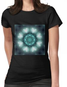 Green Floral Mandala - Abstract Fractal Artwork Womens Fitted T-Shirt