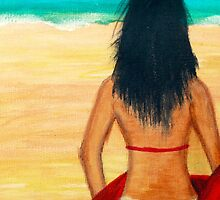 Girl at the Beach - Acrylic Painting on Canvass by mayapagal