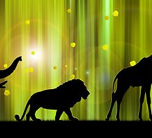 Africa animal silhouettes in the Magic Forest  by Monika Juengling