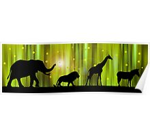 Africa animal silhouettes in the Magic Forest  Poster