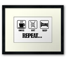 Coffee Knit Repeat Framed Print