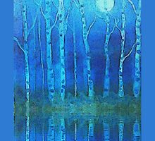 Birches in moonlight by Holly Martinson