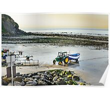 Fishing boat returning on beach, Cap Gris Nez, France Poster
