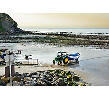 Fishing boat returning on beach, Cap Gris Nez, France Photographic Print