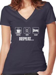 Coffee Knit Repeat Dark Women's Fitted V-Neck T-Shirt