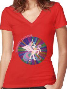 GlitterPrincessCelestia Women's Fitted V-Neck T-Shirt