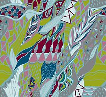 Hand drawn pattern with lines. Bright colors . by Kollibri