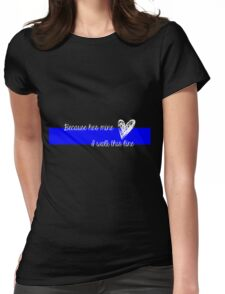 LEO Wife Thin Blue Line - Because he's mine I walk this line Womens Fitted T-Shirt