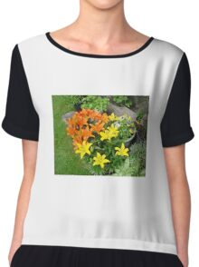 POTTED YELLOW AND ORANGE LILIES Women's Chiffon Top
