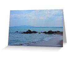 Black sea beach and rocks Greeting Card