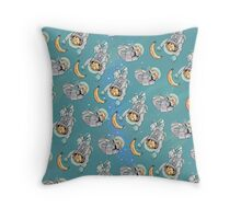 Space Critters - Hamster and Monkey Throw Pillow