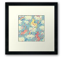 Fancy Rainbow Unicorns Framed Print