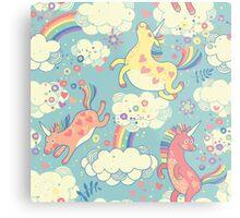 Fancy Rainbow Unicorns Metal Print