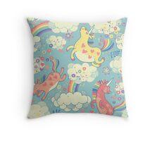 Fancy Rainbow Unicorns Throw Pillow