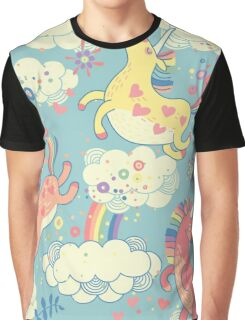 Fancy Rainbow Unicorns Graphic T-Shirt