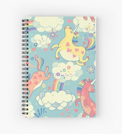 Fancy Rainbow Unicorns Spiral Notebook