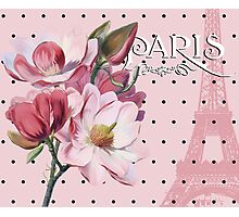 Sophisticated Parisian Pink Magnolias black polka dots, Eiffel Tower France Photographic Print