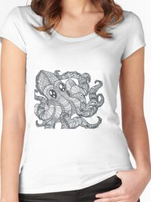 Mandala Black and White Octopus Women's Fitted Scoop T-Shirt