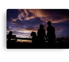 Family Sunset Silhouette Canvas Print