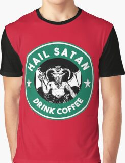 Hail Satan... Drink Coffee! Red Coffee Cup Design with the Devil Graphic T-Shirt
