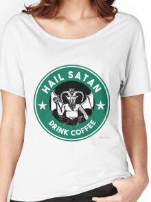 Hail Satan... Drink Coffee! Red Coffee Cup Design with the Devil Women's Relaxed Fit T-Shirt