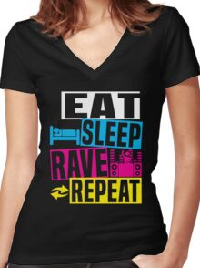 Sleep Rave Repeat Women's Fitted V-Neck T-Shirt