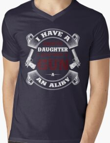 I Have A Pretty Daughter I Also Have A Gun A An Aliby Mens V-Neck T-Shirt