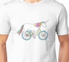 Unicorn Riding a Bicycle Unisex T-Shirt