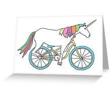 Unicorn Riding a Bicycle Greeting Card